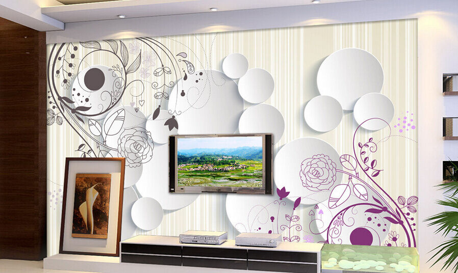 3D Weiß Circle Line Flowers Paper Wall Print Wall Decal Wall Deco Indoor Murals