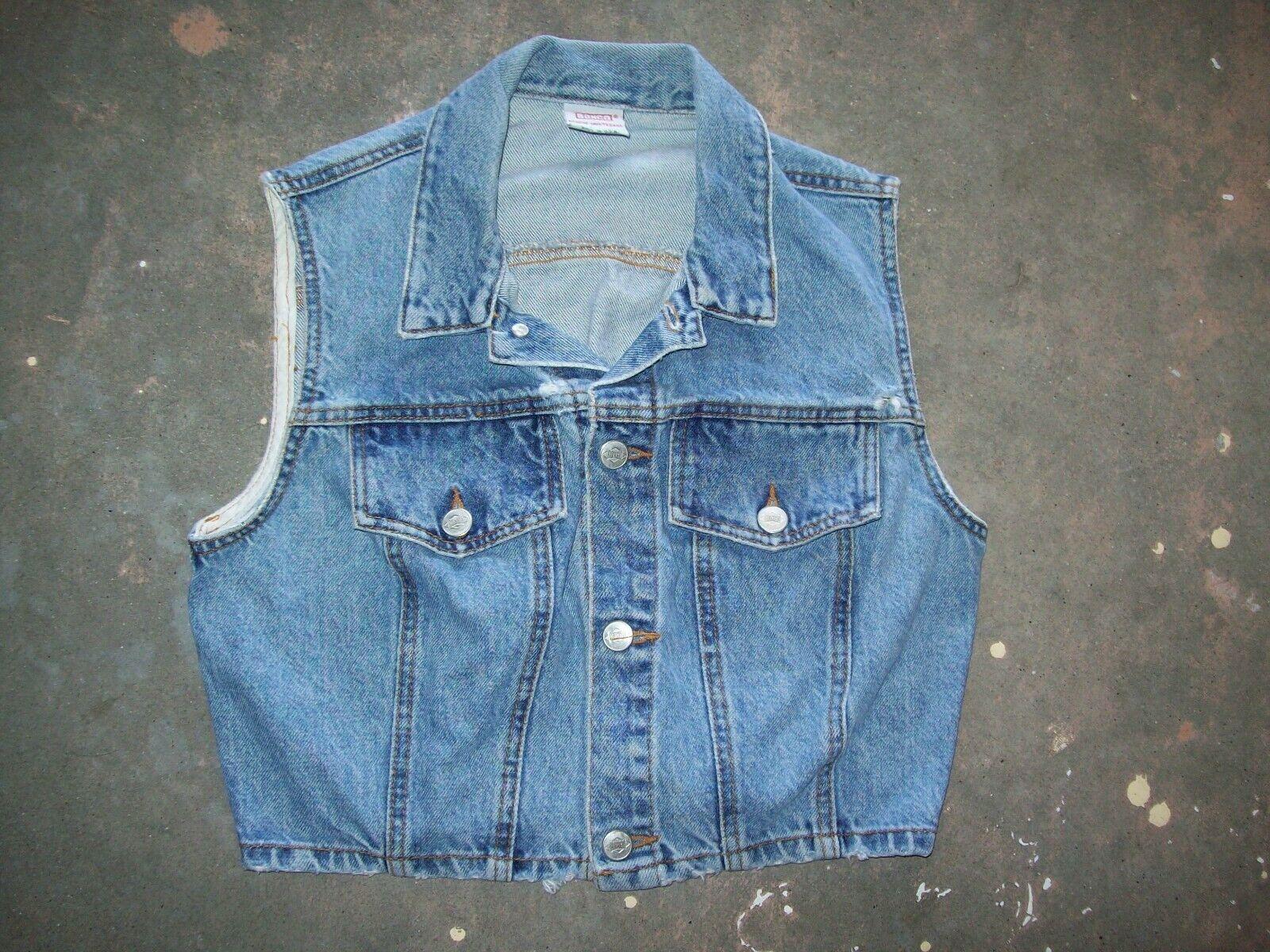 Vintage 90s BONGO by GENE MONTESANO Cropped Blue Denim Jean VEST Size: L