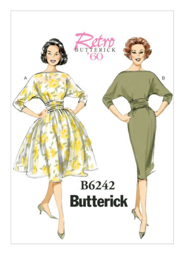 Butterick 6242 Sewing Pattern to MAKE 60/'s Ruched-Waist Batwing Sleeve Dress
