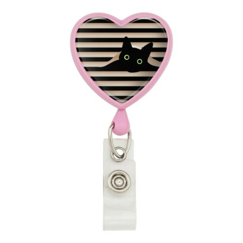 Black Cat In Window Heart Lanyard Retractable Reel Badge ID Card Holder