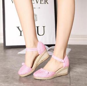 26abba48154 Details about Womens Ethnic Wedge Mid Heel Sandals Ankle Strap Espadrille  Closed Toe Shoes