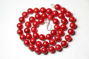 Coral-Red-Natural-Gemstone-9mm-Ball-Silk-Knotted-Necklace-19-034-925-Silver-Clasp