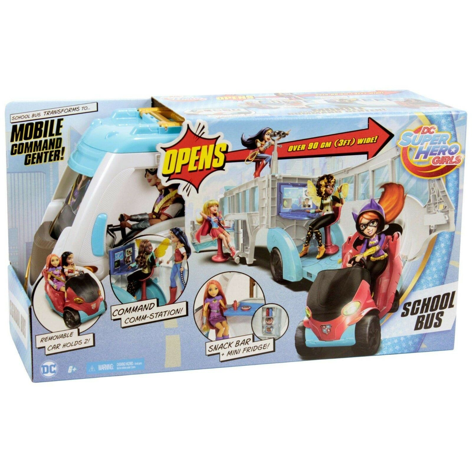 DC Super Hero Girls School Bus Vehicle Mobile Command Center Over 3ft Wide New