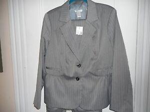 Womens Light Gray Pants Suit Dress Barn Size 18w Jacket