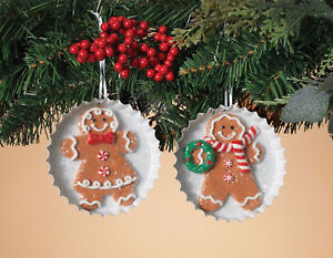 Details About Set Of 2 Clay Dough Holiday Gingerbread Cookie On Metal Tray Christmas Ornaments