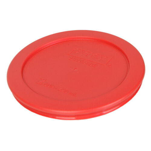 """Pyrex 7200-PC 5/"""" Storage Lid Cover 2 Cup Red Round 6 Pack for Glass Bowl New"""