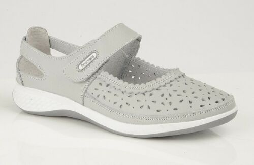 Boulevard L9552 Touch Fastening Window Back Punched Bar Shoes Light Grey