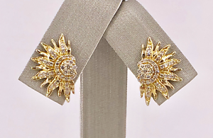 Dazzling  Solid 10K Yellow gold & Diamond Sunburst Stud Earrings, New