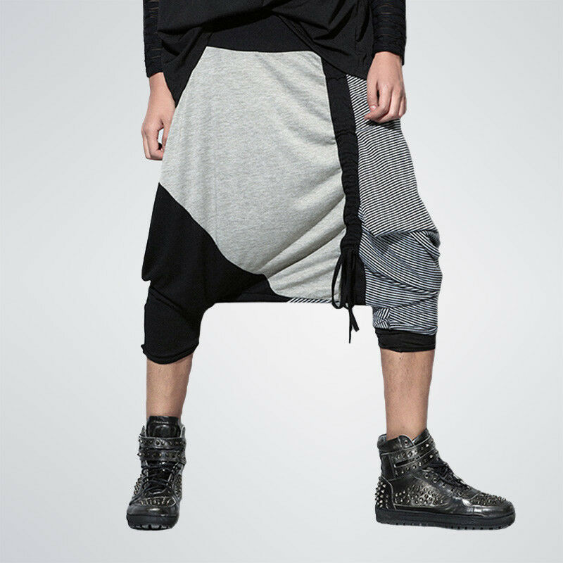 Men Cross Pants Striped Spliced pants men streetwear hip hop jogger Baggy pants