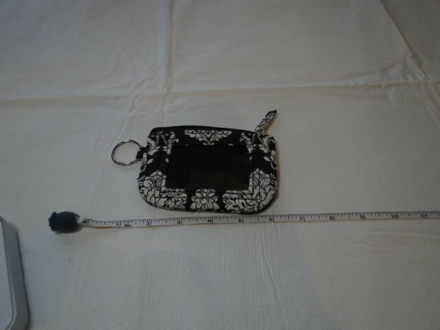 ID keychain change purse key ring black white credit card travel compact park