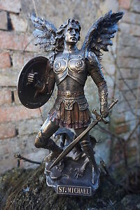 30218 Figurine Statuette Statue Archange St Michel Au Demon Style Bronze