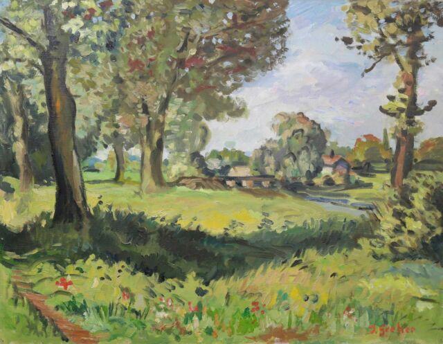 Antique Oil on Canvas Representative Un Landscape Signed Greher?