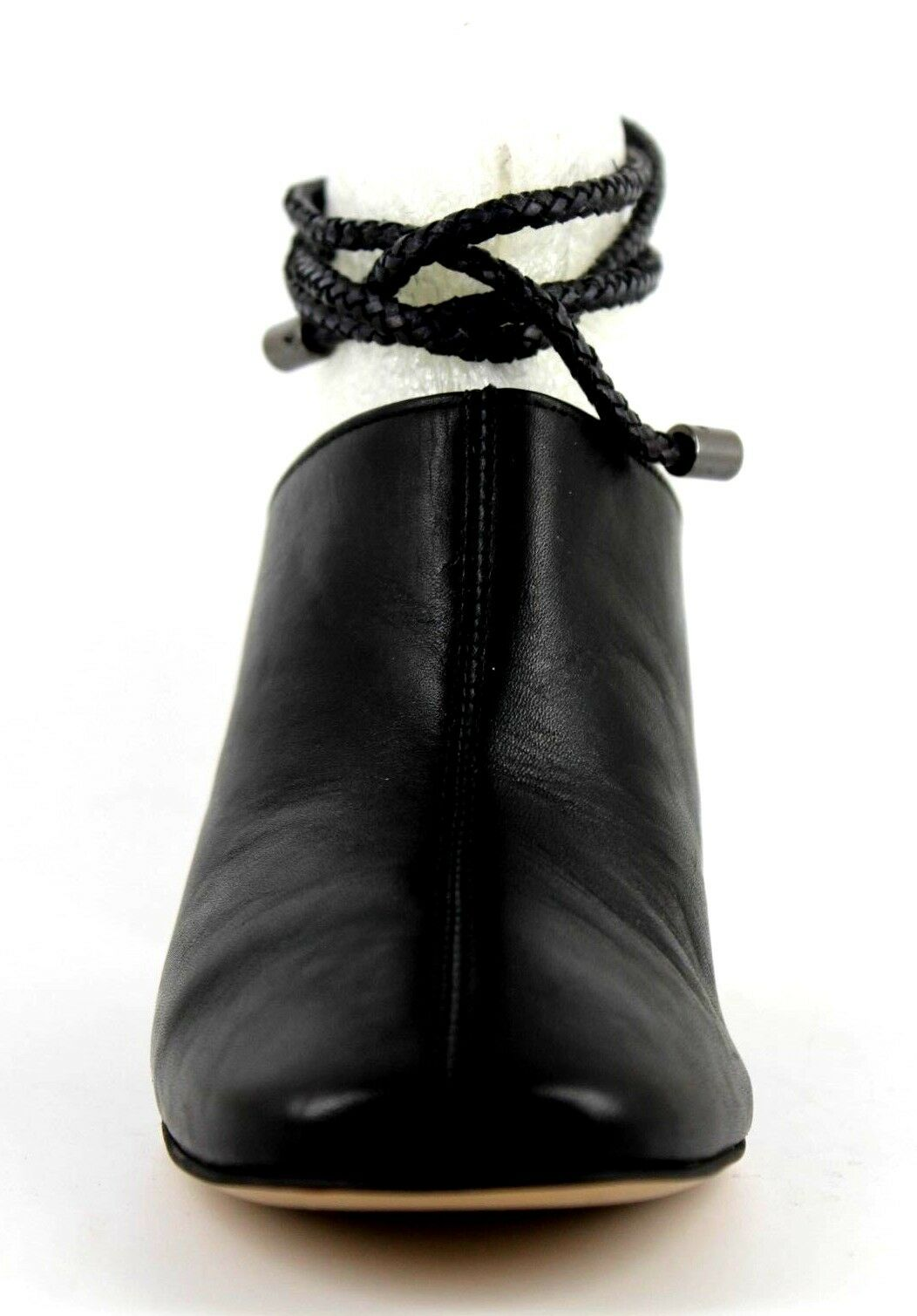 Next Next Next Signature Womens UK 5 & 5.5 Black Leather High Heel Mule Rope Tie shoes 488ccc