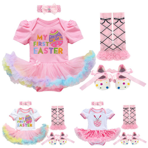 4pcs Baby Girl My First Easter Costume Egg Bunny Romper Tutu Dress Party Outfits