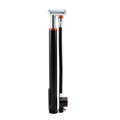 UNICH Bike CNC Machined Dual Mini Floor Pump W// Gauge Black