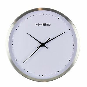 Image Is Loading Modern Silent Round Aluminium Metal Silver Hometime Wall