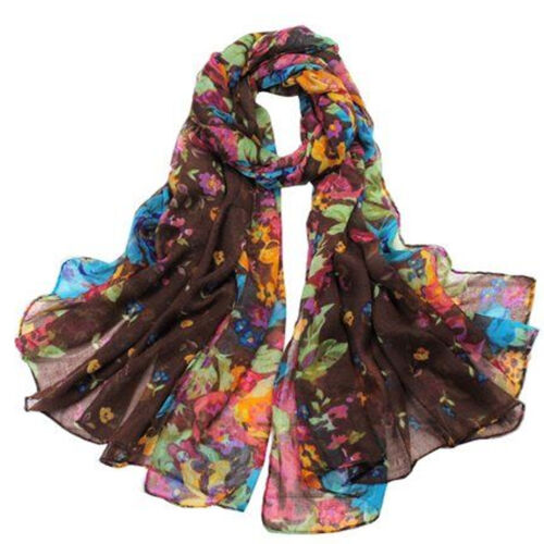 Womens Large Summer Floral Chiffon Oversized Long Wrap Thin Style Scarf Vincenza