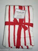 Kitchen Chef Designer Collection Kitchen Towel Set/3 White W/red Stripes (new)