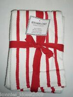 Kitchen Chef Designer Collection Kitchen Towel Set/3 White W/red Stripes (new)