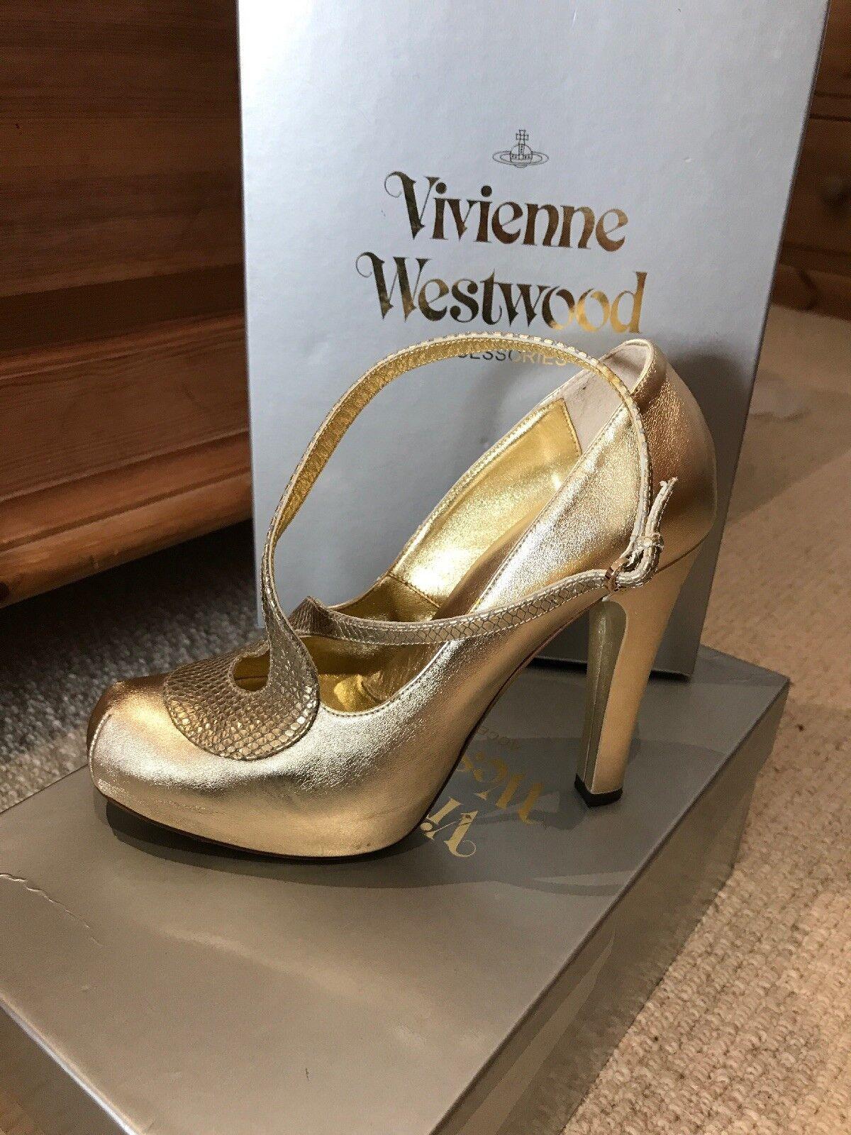 Vivienne serpiente Westwood piel de serpiente Vivienne oro Zapatos de plataforma Talla 37 Coco viejo Aloe 03f89c