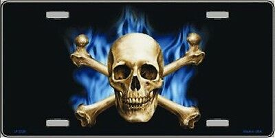 BLUE FLAME AND CROSSBONES WITH SKULL METAL NOVELTY LICENSE ...