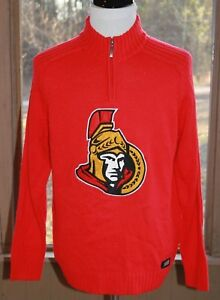 Ottawa-Senators-NHL-Size-Large-1-4-Zip-Pullover-Sweater-Logo-1-4-Zip-Men-039-s-AG