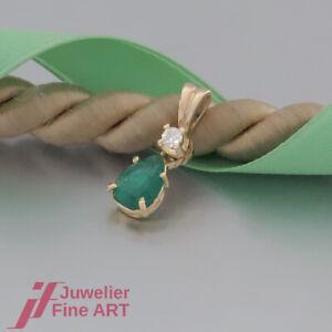 wunderschoener-Anhaenger-1-Smaragd-amp-1-Brillant-Diamant-18K-750-Gelbgold