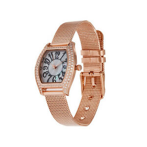 Diamonique-Mother-of-Pearl-Rosetone-Mesh-Strap-Water-Resistant-Watch-QVC