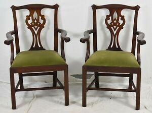Pair-of-Henkel-Harris-Chippendale-Style-Arm-Dining-Chairs-Model-101-29-Finish