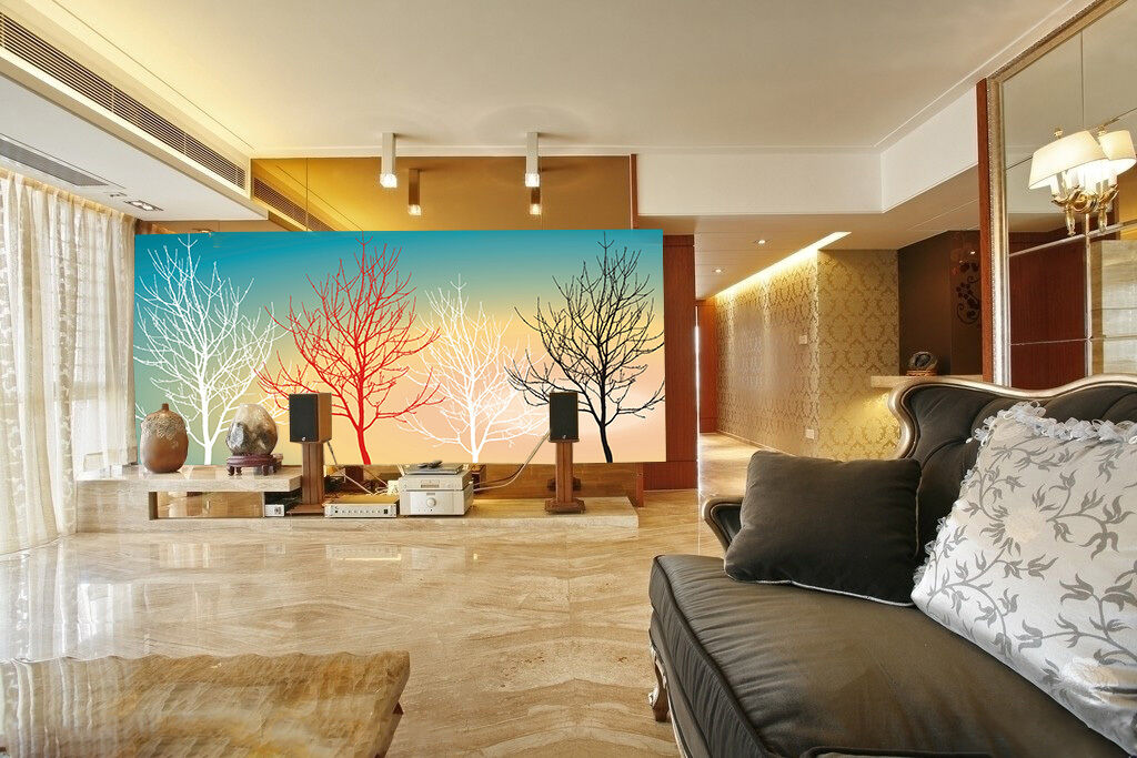3D Schwarz, weiß, rot bäume 7 Fototapeten Wandbild Fototapete BildTapete Familie