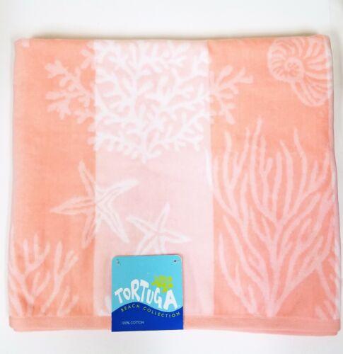 """TORTUGA PINK,PEACH+WHITE SEA LIFE COLLECTION COTTON BATH,BEACH TOWEL 36/""""x68/"""""""