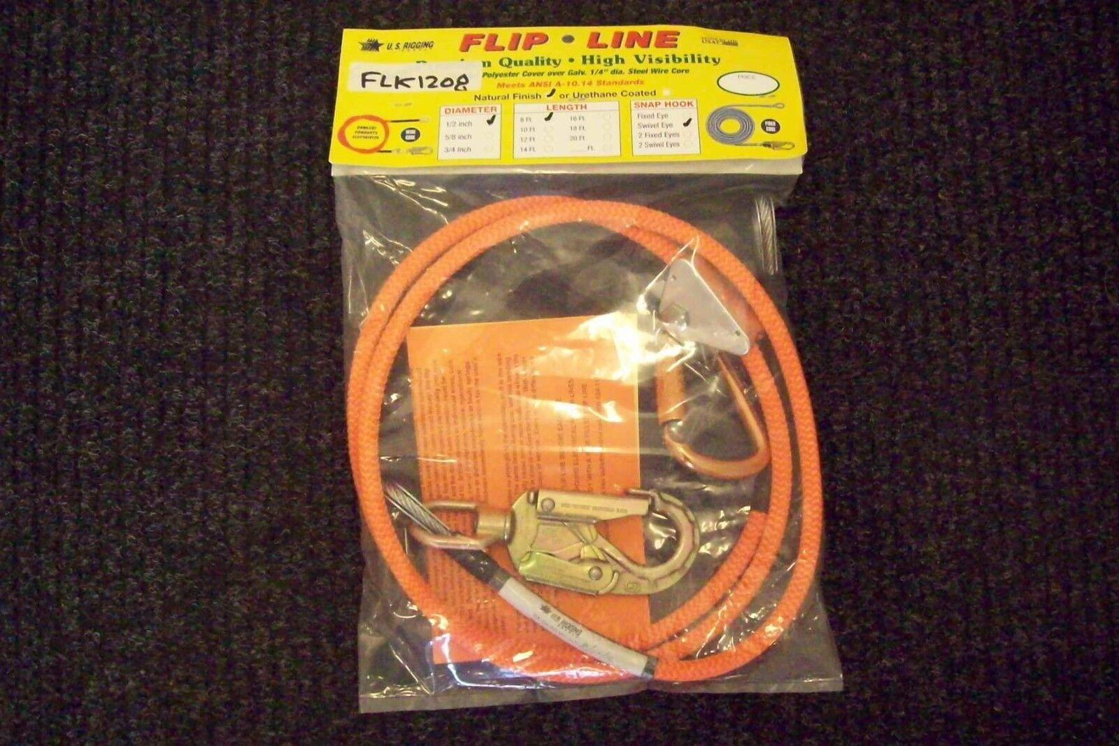 Tree Climber Flipline Kit,1 2  X 8' High Vis w Adjuster & Carabiner, Made In USA