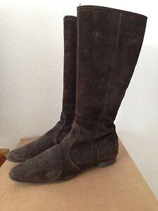 Details zu Esprit Damen Stiefel Leder dunkelbraun Gr.42 gern getragen Wildleder Sammler