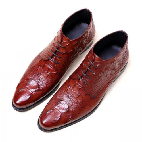 Details about  Crocodile Pattern Handmade Oxfords Men's Cowboy Boots Casual Leather Shoes Dress