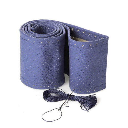 Lenkradbezug Lenkradschoner Echtes Leder Blau Perforiert Ø 37-39 9,5 cm Neu