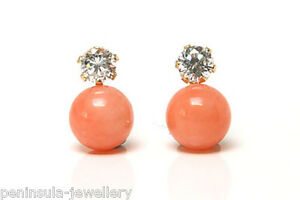 9ct-Gold-Coral-and-CZ-Studs-earrings-Gift-Boxed-Made-in-UK-Christmas-Gift-Xmas