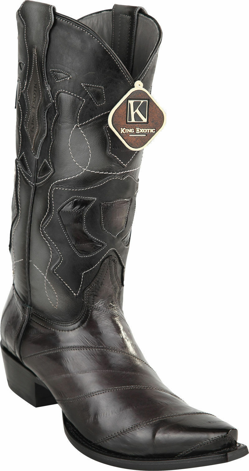 King exótico gris SNIP Toe Original Bota de vaquero occidental Anguila Extra Ancho 94RD0838
