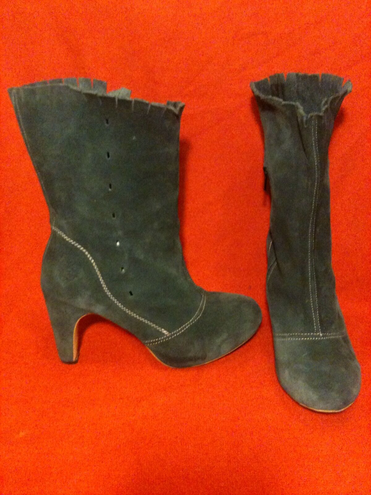 Teal Suede Fly London Mid-Calf Boots 9.5-10 41