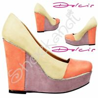 Womens Dolcis Platform Wedge Suede Nude Coral Lilac Pastels Wedding Shoes Size