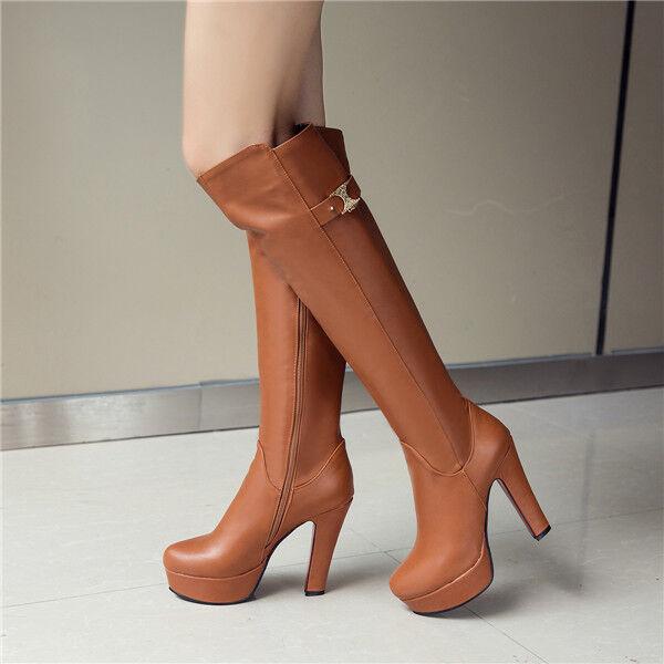 Neu Kniehoch Rund Kunstleder Damen Stiefel Schuhe Block Asbatz Platform Party