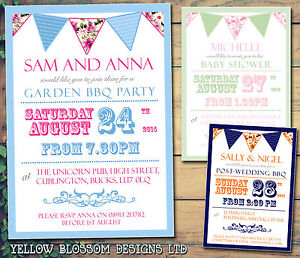 Image Is Loading 10 Printed Invites Birthday Party Invitations Bunting Shabby
