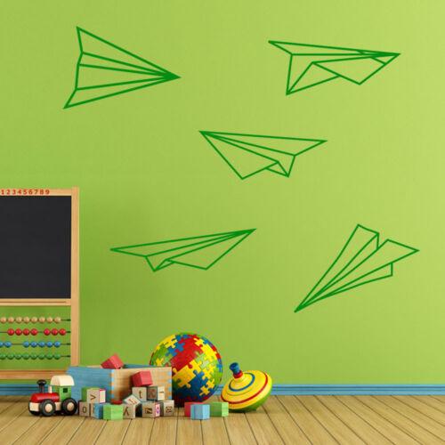 Papier Avions origami Wall Sticker Set Autocollants Enfants Décoration Fenêtre FUN vinyle A167
