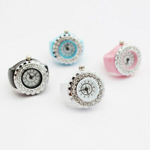 Fashion-Women-Girl-Lady-Crystal-Ring-Steel-Stretchy-Quartz-Finger-Watch-Gift