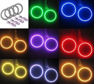 4x 80MM Multi-Color 5050 RGB Flashing LED Angel Eyes Halo Ring Bulbs Remote kit