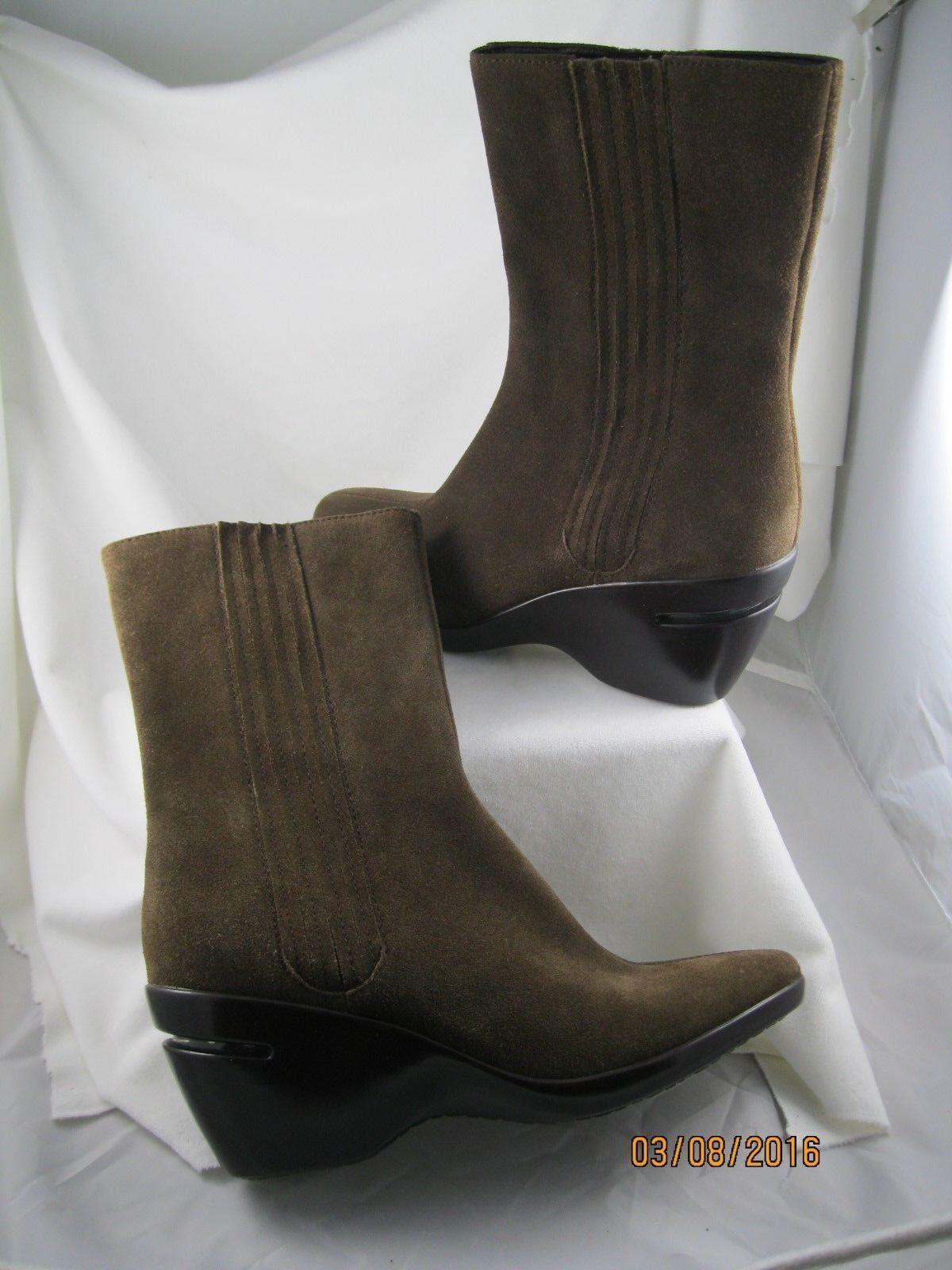 COLE HAAN NEIMAN MARCUS DARK TAUPE/BROWN SUEDE MID-CALF BOOTS- NEVER WORN - 8.5B