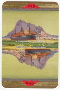 Playing-Cards-Single-Card-Old-P-amp-O-Shipping-Line-Advertising-Art-SS-MONGOLIA-day