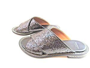 05577a4e9166 Image is loading Givenchy-Paris-Black-Sparkly-Chain-Slide-Sandals-Size-