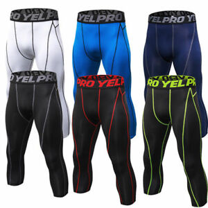 Men-039-s-Basketball-Compression-Tights-3-4-Athletic-Training-Pants-Breathable-Cool