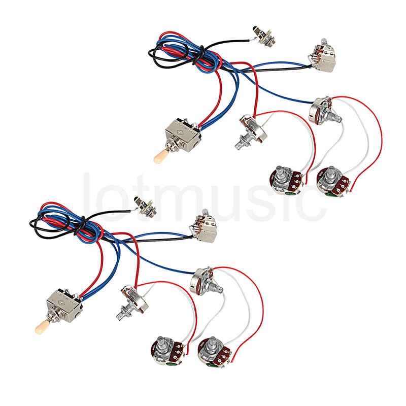 guitar wiring harness 2v2t pot jack 3 way for gibson les paul lp parts sets of 2 ebay. Black Bedroom Furniture Sets. Home Design Ideas