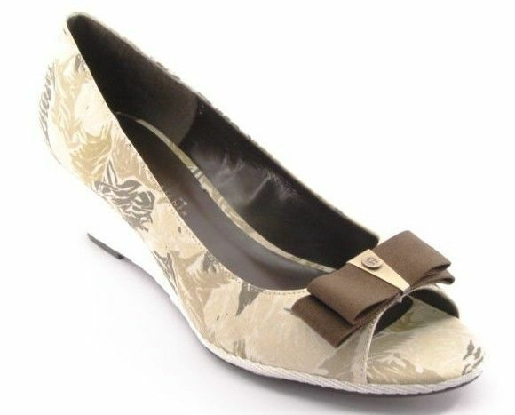 New ETIENNE AIGNER Women Fabric Pump Wedge Heel Open Toe Bow Pump shoes Sz 8 M